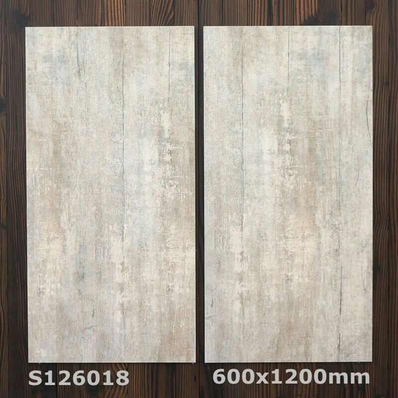 Wood Flooring Ceramic Rustic Tile 600x1200mm Fashion Color Bedroom Floor Brown Color